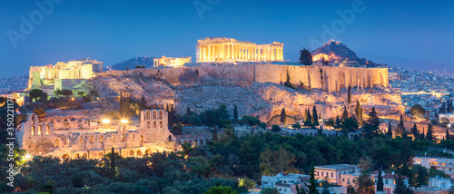 Night panoramic view of the Acropolis Hil  with Parthenon, Greece Canvas Print