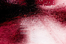 Red Vineyard. Colorful Abstract Picture Who Evokes Someone Driving On A White Road Heading To A Vineyard In The Background In The Middle Of A Storm.