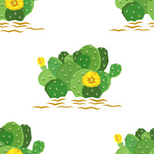 The Eastern Prickly Pear Cactus With Yellow Flowers Seamless Pattern