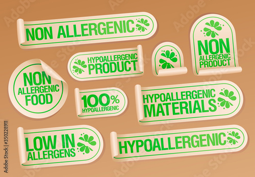 Non allergenic products and hypoallergenic materials stickers set, Canvas Print