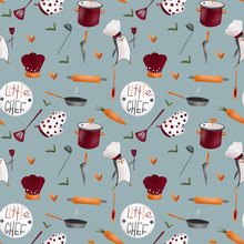 Cute Kitchen Pattern Made Of T...