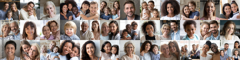 Fototapeta Collage mosaic of many happy multiracial people couples and families, old young generation adults and kids of diverse ethnicity faces headshots closeup portraits. Horizontal banner for website design.
