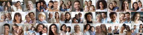Fototapeta Collage mosaic of many happy multiracial people couples and families, old young generation adults and kids of diverse ethnicity faces headshots closeup portraits. Horizontal banner for website design. obraz