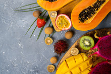 Exotic Fruits And Tropical Lea...
