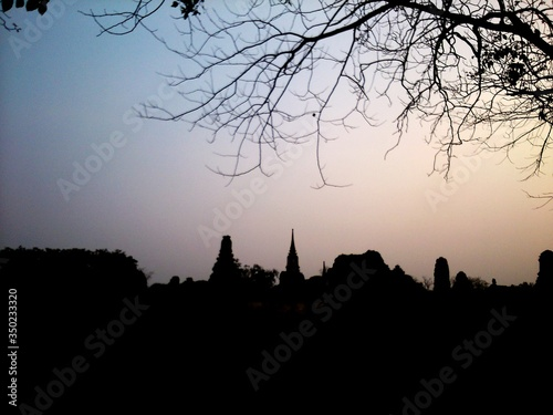 Silhouette Temple At Ayuthaya Province Against Sky Canvas Print