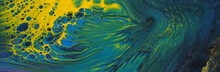Art Photography Of Abstract Marbleized Effect Background. Black, Yellow, Green And Blue Creative Colors. Beautiful Paint