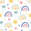 Cute kids nursery. Hand drawn seamless pattern with rainbows, smiling clouds, sun and hearts. Sky background. Baby shower. Doodle design for wallpaper, fabric, wrapping, apparel. Vector illustration