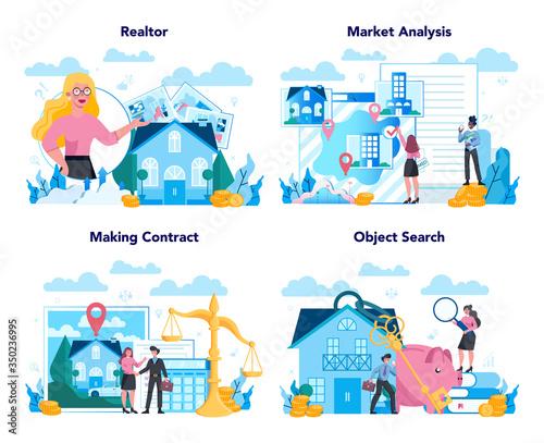 Qualified real estate agent or realtor concept set. Realtor assistance