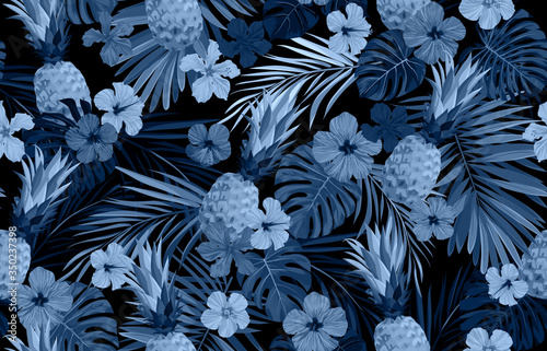 Seamless hand drawn tropical vector pattern with exotic palm leaves, hibiscus flowers, pineapples and various plants on dark background Fototapeta