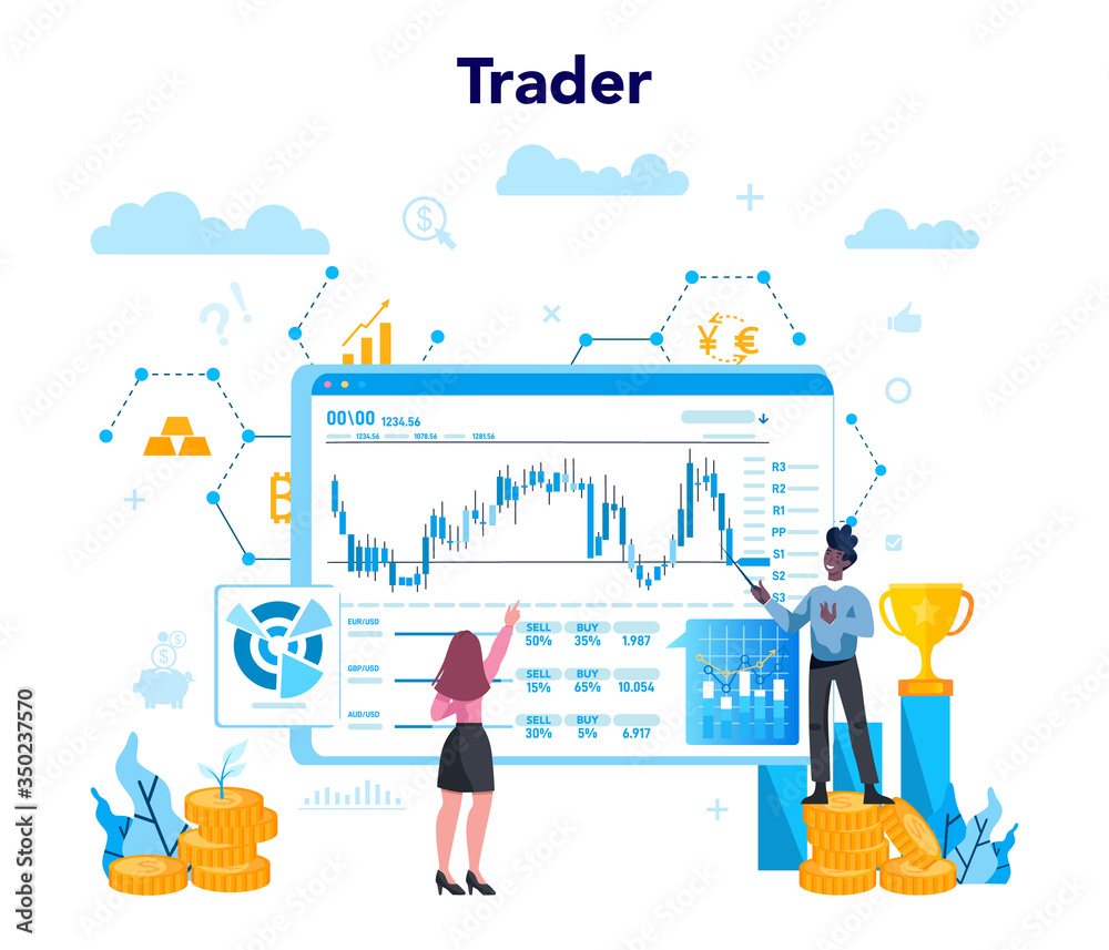 Fototapeta Trader, financial investment concept. Buy, sell or loss profits