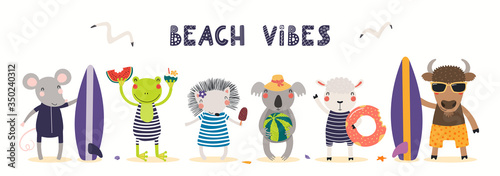 Obraz Hand drawn card, banner with cute animals in summer, text Beach Vibes. Vector illustration. Isolated on white. Scandinavian style flat design. Concept for kids holidays print, invite, poster. - fototapety do salonu