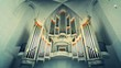 canvas print picture - Low Angle View Of Pipe Organ In Church