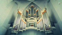 Low Angle View Of Pipe Organ In Church