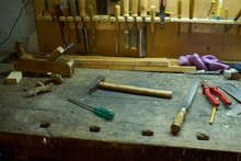 Woodworking Tools Joiner Cabinetmaker Workshop Tools Messy Workbench In The Basement With Tools Laying Around