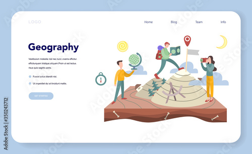 Geography web banner or landing page. Global science studying Canvas Print