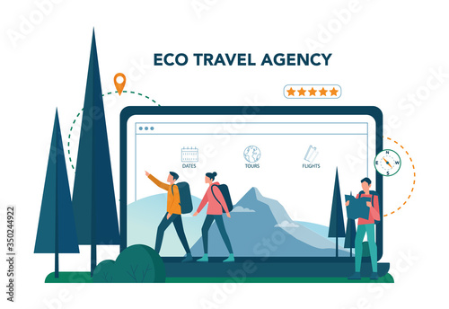 Photo Eco tourism and eco traveling online service or platform