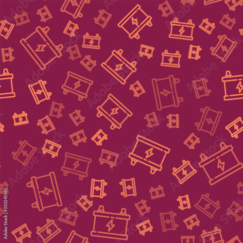 Brown line Car battery icon isolated seamless pattern on red background Canvas Print