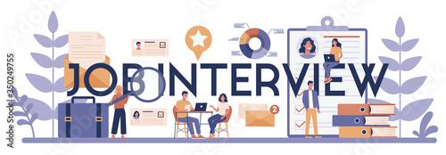 Job interview typographic header concept. Idea of employment Canvas Print