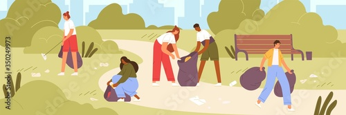 Photo Cartoon man and woman volunteer cleaning garbage in park vector flat illustration