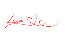 LOVE - Red Calligraphy Inscrip...