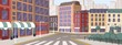 Colorful street of modern European city vector graphic illustration. Architecture building exterior of downtown panoramic view. Colored megapolis cityscape. Central district with house facade