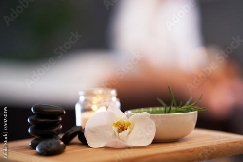Obraz na plátně Relaxed woman receiving back massage