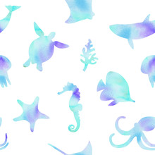 Watercolor Blue Underwater Animals And Fishes Silhouettes Seamless Pattern On White Background For Fabric,baby Textile, Scrapbooking, Wrapping, Wallpaper Print