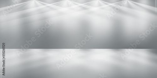Fototapety, obrazy: soft gray and white studio room background, grey floor backdrop with spotlight.