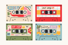Set Of Four Retro Vintage Tape...
