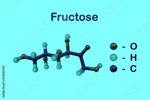 Photo Molecular structure of fructose or fruit sugar, a simple ketonic monosaccharide found in many plants, where it is bonded to glucose to form disaccharide sucrose