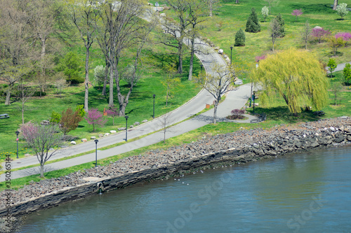 Waterfront and Trails along the East River at Randalls and Wards Islands in New York City during Spring