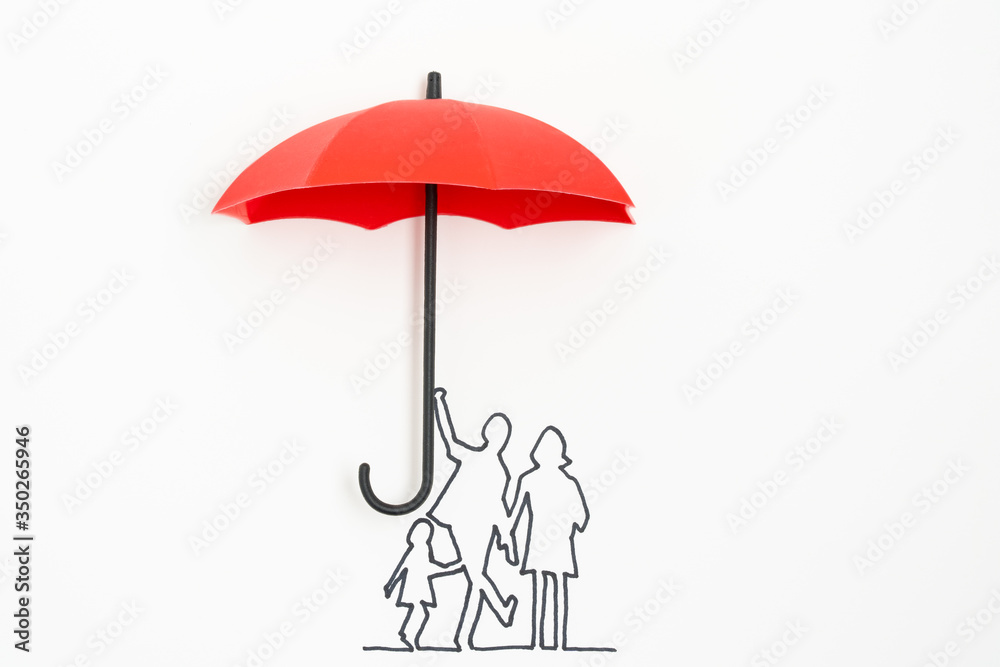Fototapeta Complete family life insurance sign icon with umbrella and family silhouette