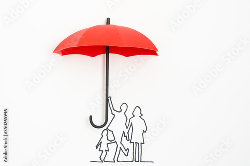 Obraz Complete family life insurance sign icon with umbrella and family silhouette - fototapety do salonu