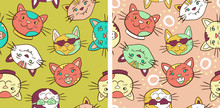 Set Of Colorful Smiling Cats, ...