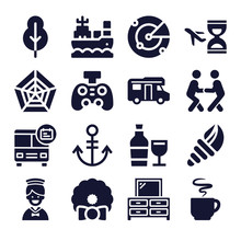 Set Of 16 Naval Filled Icons