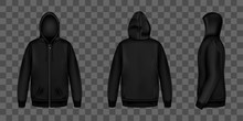 Black Sweatshirt With Zipper, Hood And Pockets Front, Back And Side View. Vector Realistic Mockup Of Male Zip Hoodie With Long Sleeve. Warm Shirt, Men Sport Jacket Isolated On Transparent Background