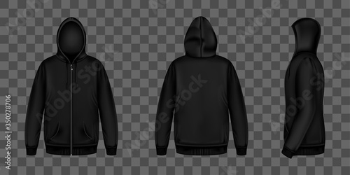 Obraz na plátně Black sweatshirt with zipper, hood and pockets front, back and side view