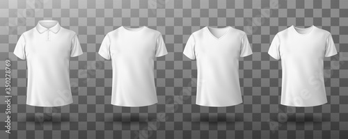 Men white polo and t-shirt round crew, v-neck front view Fototapete