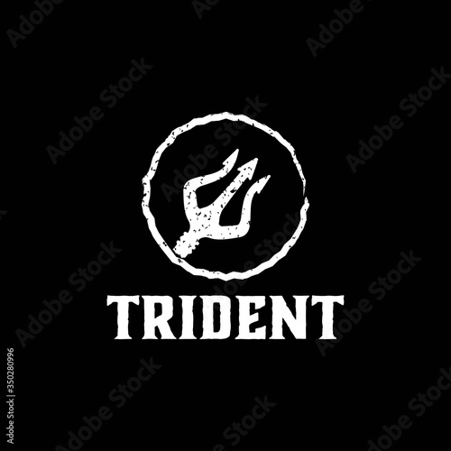 Fotografie, Obraz Trident Neptune God Poseidon Triton King Spear Label logo design