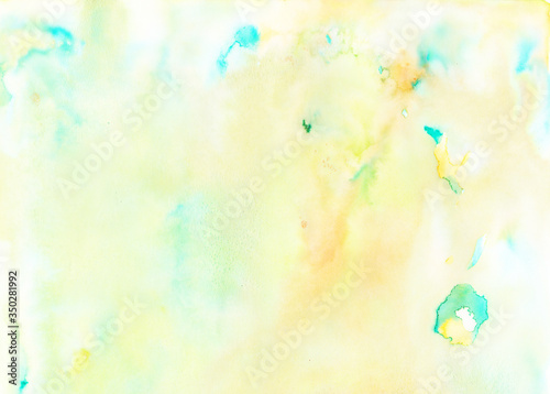 Fototapeta Watercolor background texture in blue, green and orange colors for graphics obraz