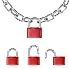 Realistic Red Lock On Metal Chain Links, Open Lock And Open With The Inscription Security. Length Of Chain Isolated On White Background