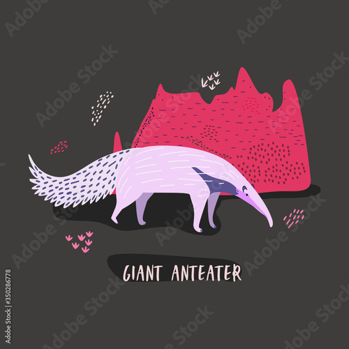 Fototapeta Flat vector cartoon illustration of a giant anteater near a large termite mound. obraz