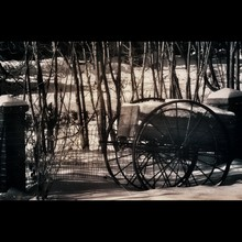 Isolated View Of A Wagon Stuck In The Snow