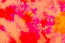 Bright Artistic Dirty Art. Dirty Art Background. Wet Art Print. Watercolor Print. Red Tie Dye Grunge. Brushed Graffiti.Tie Dye Shirt. Orange Watercolor Pattern. Splash Banner.