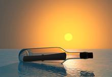 Botella De Cristal Con Mensaje...