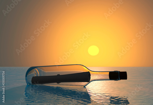 Botella de cristal con mensaje a la deriva al amanecer Canvas Print