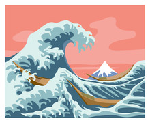 Great Wave, A Stylized Masterpiece By Japanese Artist Hokusai, Seascape With Mount Fuji & Boats, Color Vector Illustration In Cartoon, Flat & Hand Drawn Style