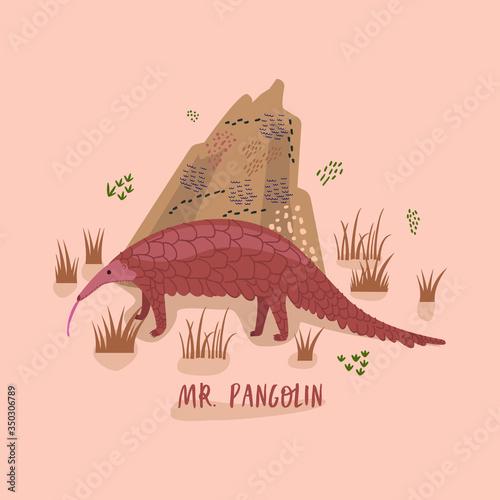 Fotografía Vector cartoon illustration of a pangolin near a termite mound with the inscription Mr