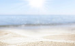 canvas print picture - blurred of the sea and sand in the summer for abstract background