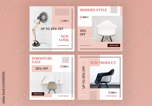 Fototapeta Product Sale Social Media Post Layout Set with Pink Accents obraz